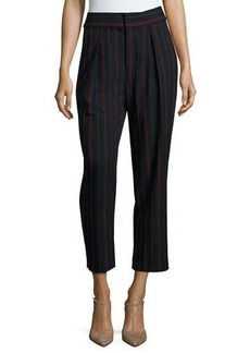 See by Chloe Striped Pleated Crepe Trousers