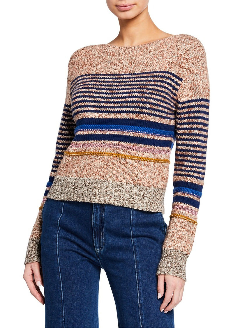 See by Chloé See by Chloe Striped Wool-Blend Crewneck Sweater