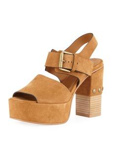 See by Chloé See by Chloe Stud-Heel Suede Platform Sandal