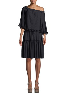 See by Chloé See by Chloe Tiered Plisse Self-Tie Shift Dress