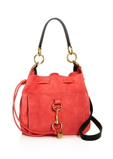See by Chloé See By Chloe Tony Wooden Pink Suede Shoulder Bag