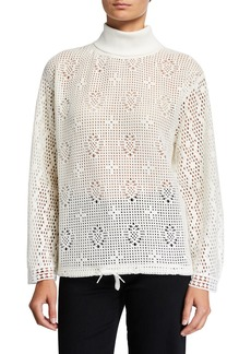 See by Chloé See by Chloe Turtleneck Lace Long-Sleeve Top
