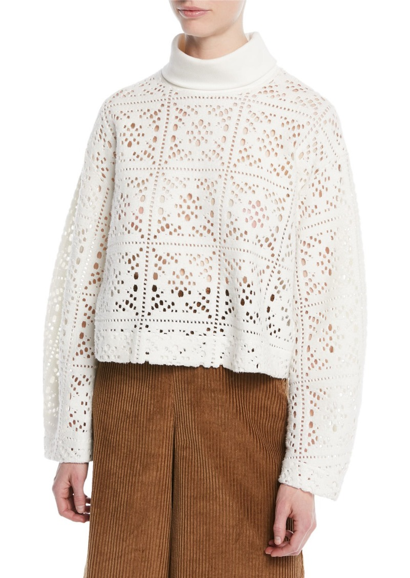See by Chloé See by Chloe Turtleneck Long-Sleeve Cutout Sweater