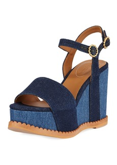 8ed5f4191d68 See by Chloé See by Chloe Two-Tone Platform Denim Sandals