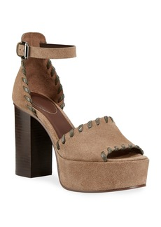 See by Chloé See by Chloe Whipstitched Suede Platform Sandals