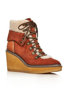 See by Chloé See by Chloe Women's Eileen Shearling-Lined Wedge Hiker Booties - 100% Exclusive