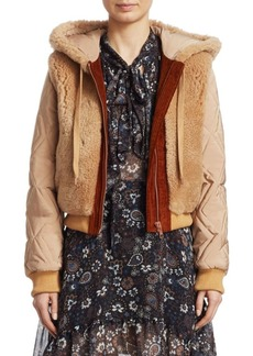 See by Chloé Shearling Hood Quilted Bomber