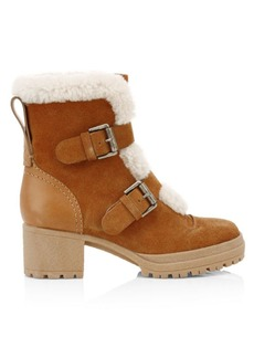 See by Chloé Shearling-Lined Suede Hiking Boots