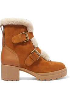 See by Chloé Shearling-trimmed Suede And Leather Ankle Boots