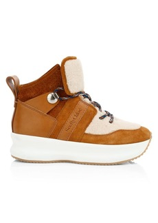 See by Chloé Shearling-Trimmed Suede Flatform Sneakers