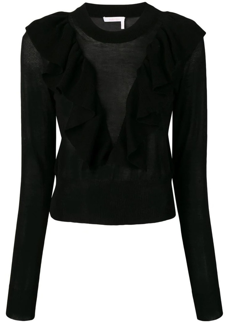 See by Chloé sheer ruffled pullover