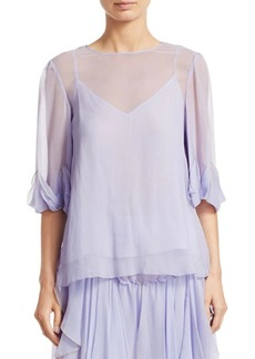 See by Chloé Sheer Silk Ruffle Blouse