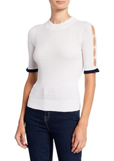 See by Chloé Short-Sleeve Alpaca Pointelle Sweater