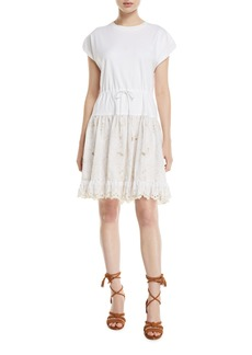 See by Chloé Short-Sleeve Cotton Dress with Lace Combo