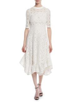 See by Chloé Short-Sleeve Cutout Lace A-Line Dress w/ Ruffled Hem