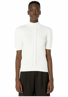 See by Chloé Short Sleeve Lace Trim Sweater
