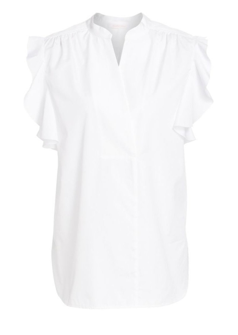 See by Chloé Short-Sleeve Poplin Ruffle Blouse
