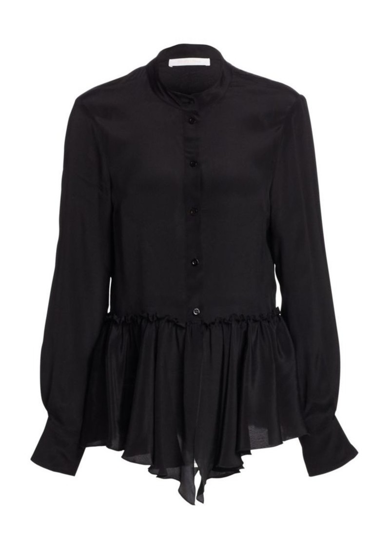 See by Chloé Silk-Blend Georgette Peplum Blouse