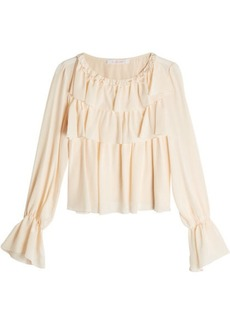 See by Chloé Silk Blouse with Flutter Details