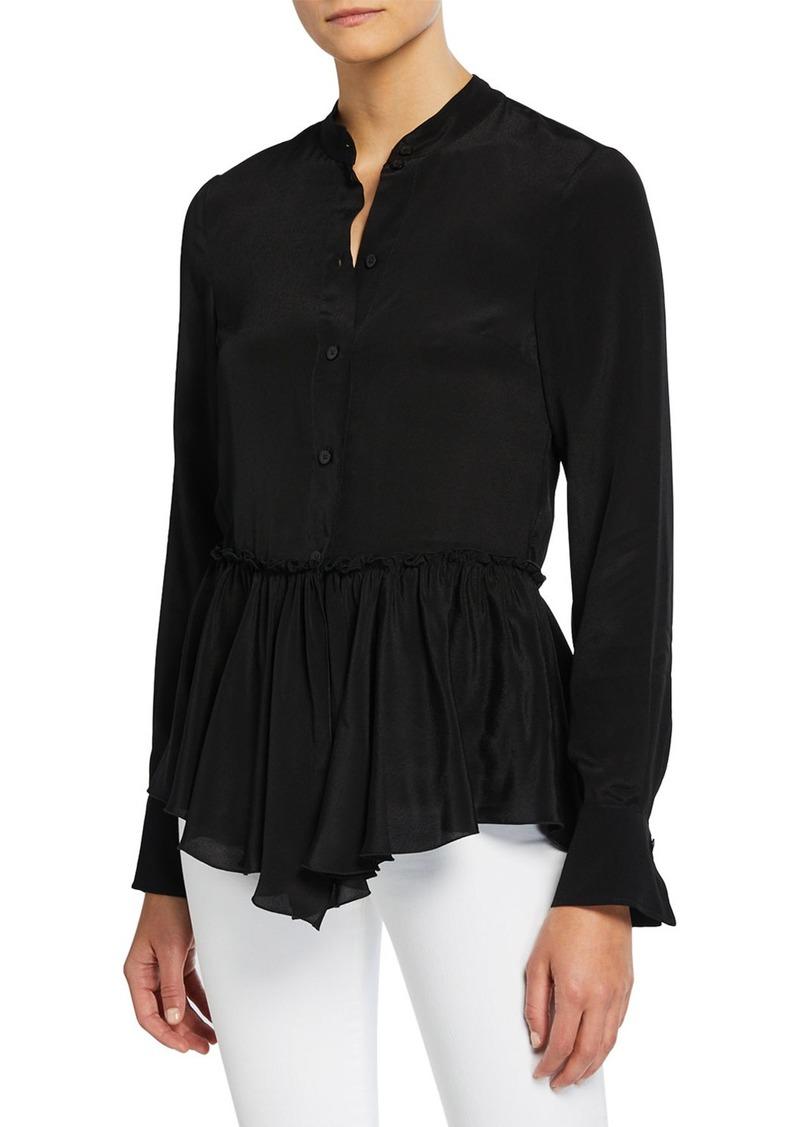 See by Chloé Silk-Crepe Flounce Hem Button-Front Shirt