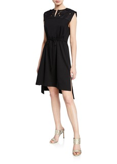 See by Chloé Sleeveless Tie-Waist High-Low Dress with Embroidery