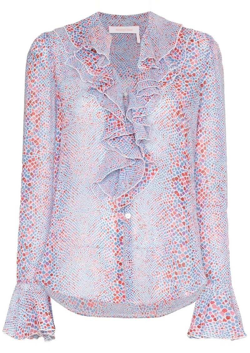 See by Chloé patterned ruffled blouse