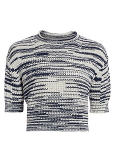 See by Chloé Space Dye Crop Knit Wool-Blend Sweater