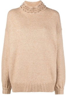 See by Chloé sphere-embellished rib-trimmed jumper