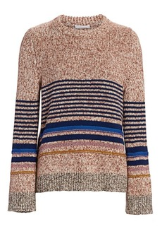 See by Chloé Stripe Metallic Long-Sleeve Knit Sweater