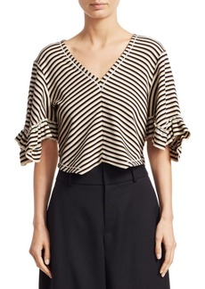 See by Chloé Striped Crop Tee