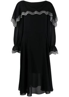 See by Chloé striped flounce midi dress