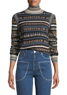 See by Chloé Striped Logo Turtleneck Pullover Sweater