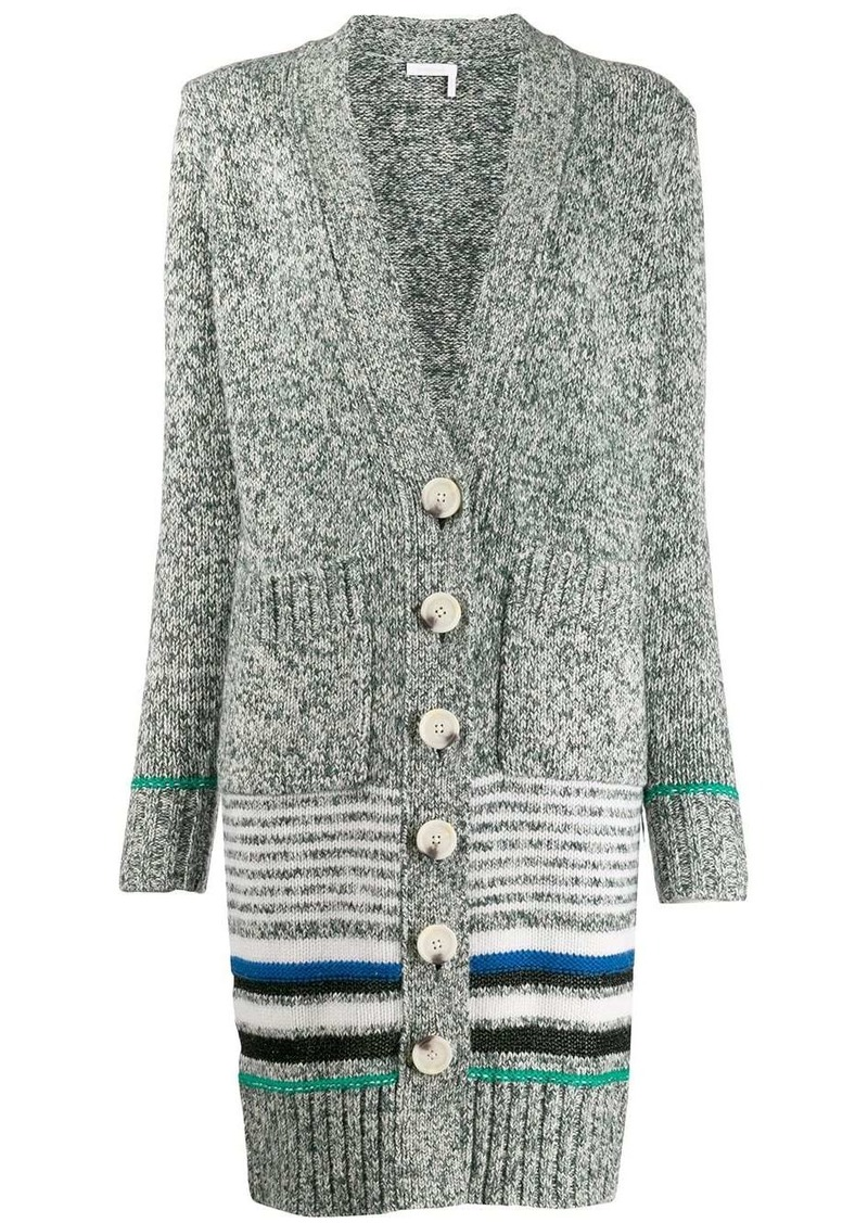 See by Chloé striped long cardi-coat
