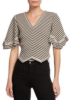 See by Chloé Striped V-Neck Cropped Blouse