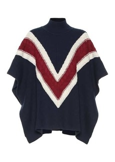 See by Chloé Striped wool and cotton-blend poncho