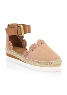 See by Chloé Floral Laser Cut Ankle-Strap Espadrilles