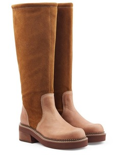 See by Chloé Suede Knee Boots with Leather