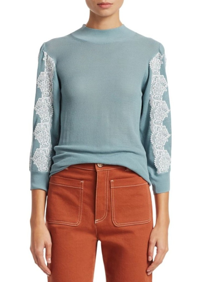 See by Chloé Three-Quarter Sleeve Lace Knit Sweater