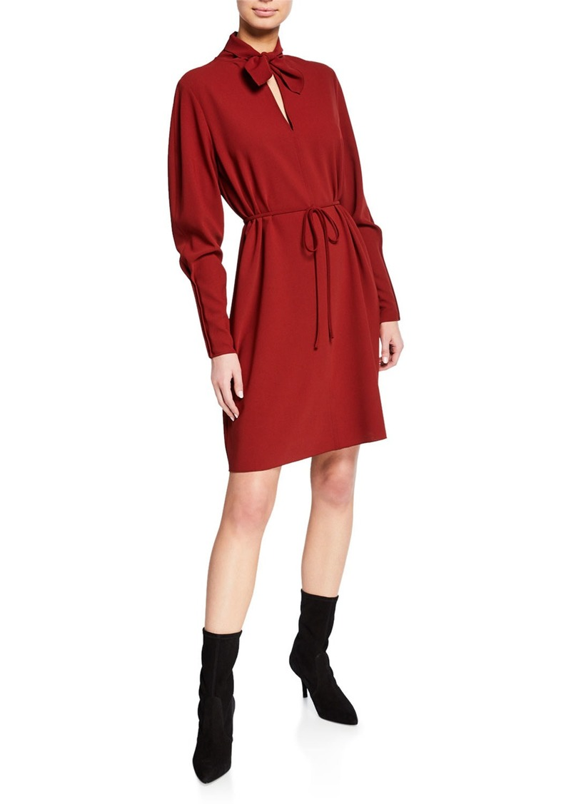 See by Chloé Tie-Neck Long-Sleeve Dress