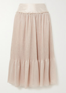 See by Chloé Tiered Metallic Plissé-chiffon Midi Skirt