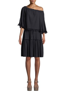See by Chloé Tiered Plisse Self-Tie Shift Dress