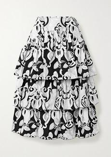 See by Chloé Tiered Printed Cotton-poplin Midi Skirt