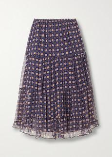 See by Chloé Tiered Printed Silk-chiffon Midi Skirt