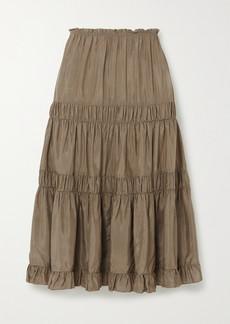 See by Chloé Tiered Ruffled Habotai Skirt