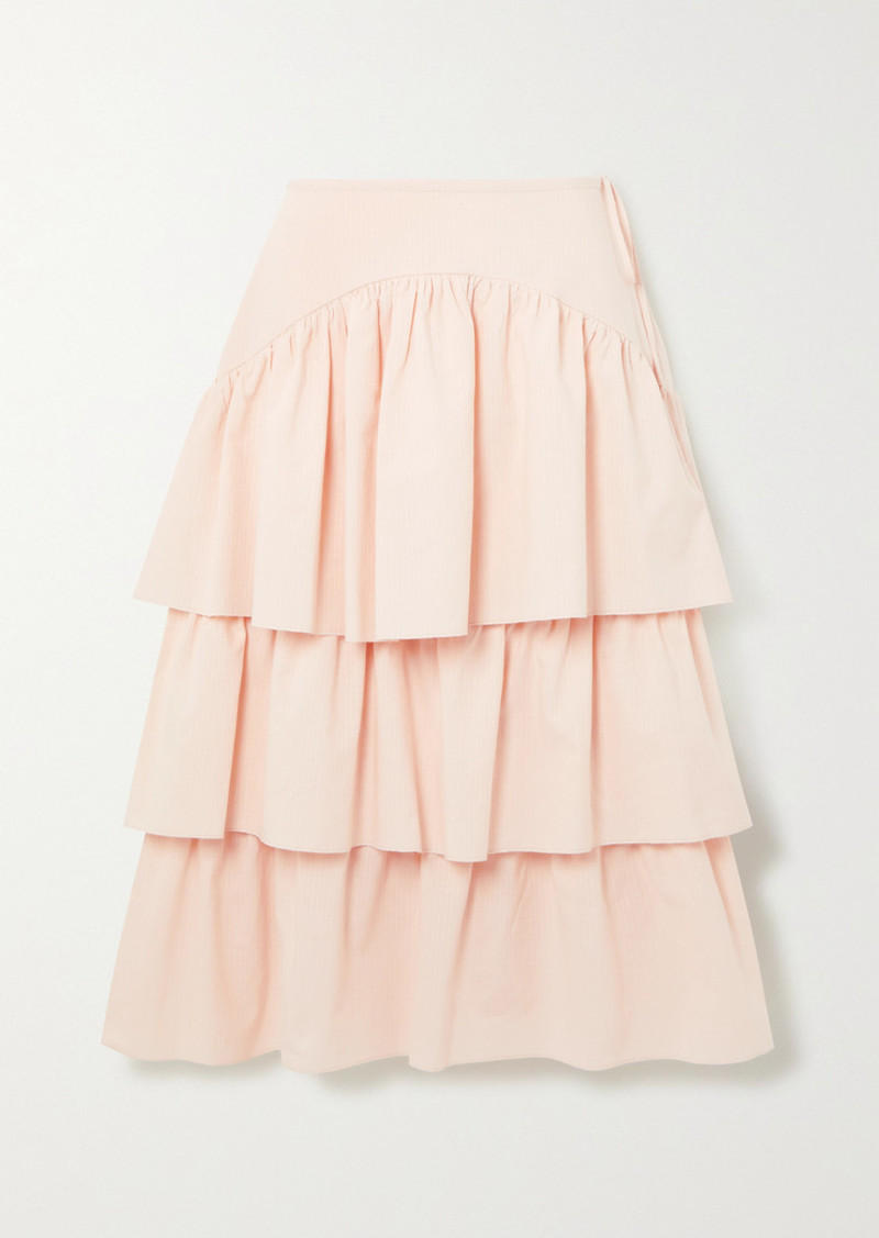 See by Chloé Tiered Striped Cotton-poplin Midi Skirt
