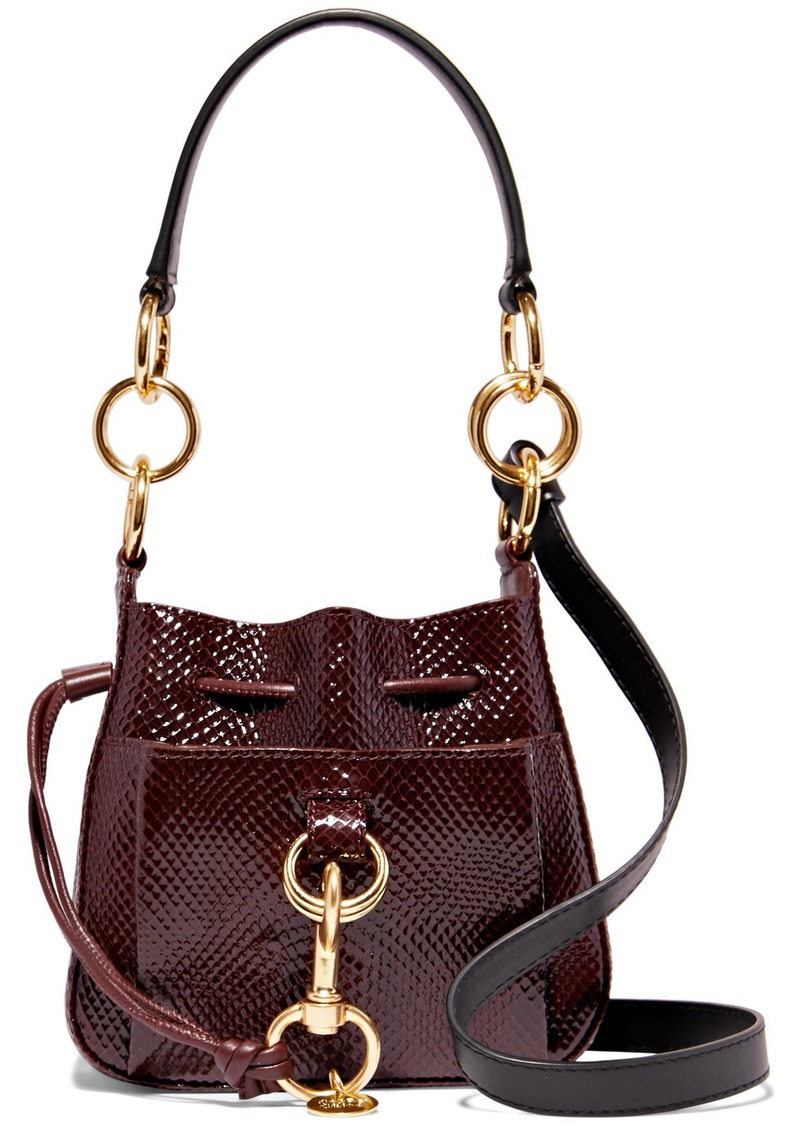 See by Chloé Tony Small Snake-effect Leather Bucket Bag