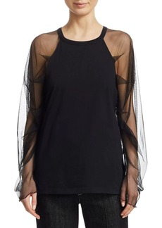 See by Chloé Tulle Sleeve T-Shirt
