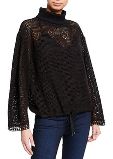 See by Chloé Turtleneck Lace Long-Sleeve Top