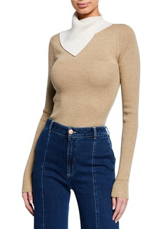 See by Chloé Two-Tone Draped Turtleneck Sweater