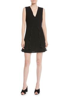See by Chloé V-Neck Sleeveless A-Line Mini Dress w/ Ruffled Trim